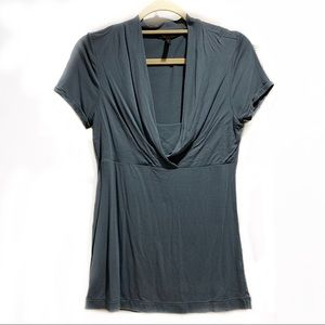BCBGMAXAZRIA Cowl Neck T-Shirt Blouse in Slate